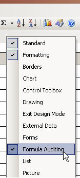Formula auditing setting in Excel